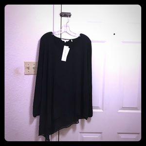 Black asymmetrical blouse